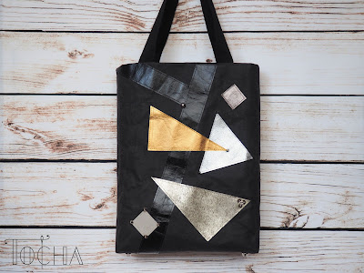 craft paper, eco-fashion, eco-friendly, ethical fashion, Etsy, geometric, Kraft-Tex, paper bag, paper tote, studs, tote bag, triangle, vegan, vegan bag, vegan leather, washpapa,