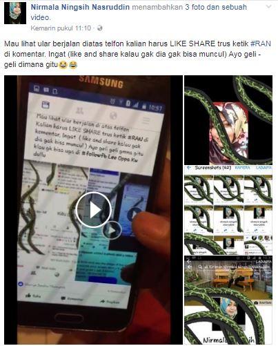 Viral Status di Facebook ketik #RUN Keluar Ular Di Handphone, Ternyata Ini Aplikasinya dan Jangan Mau ditipu lagi