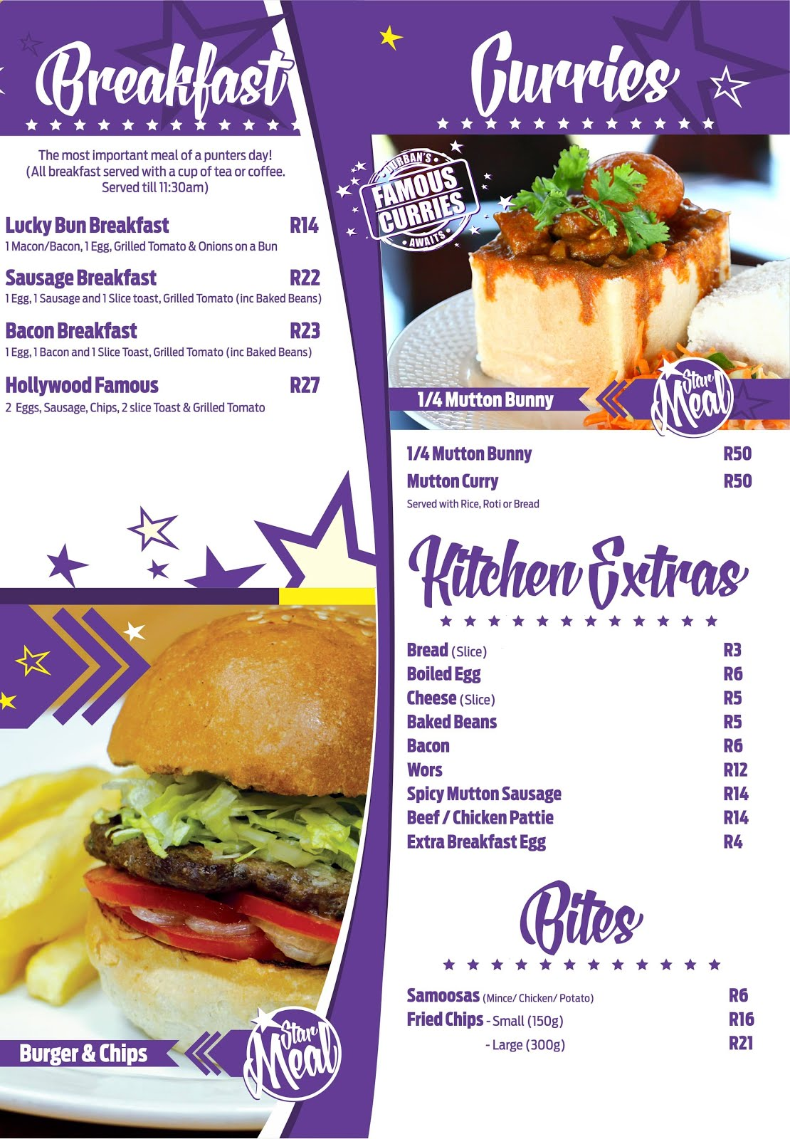 Hollywoodbets Newton Park Menu - Breakfast, Curries, Bunny Chows, Kitchen Extras, Bites