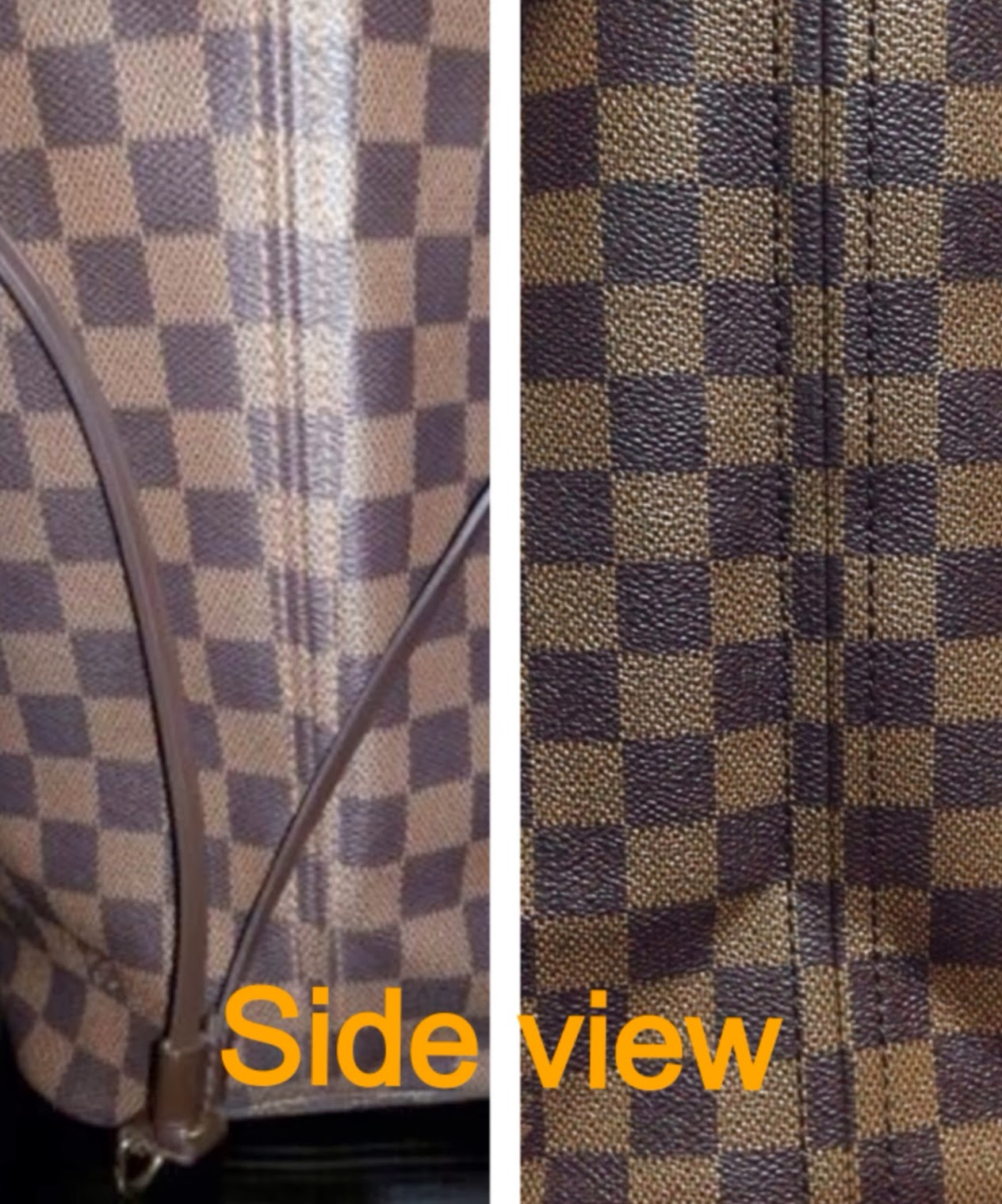 df17d13fc36e The authentic is on the left side. The authentic LV always pays close  attention to patter details. They avoid cutting and or ruining the pattern  hence the ...