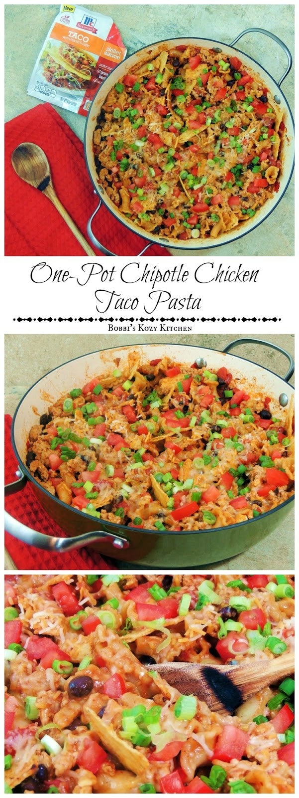 Skillet meals are a perfect for a busy family and this One-Pot Chipotle Chicken Taco Pasta will be your families new BFF! From www.bobbiskozykitchen.com