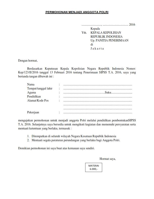 Berkas Persyaratan Penerimaan SIPSS Tahun 2016