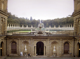 The garden entrance of the Ammannati Courtyard at the Palazzo Pitti in Florence