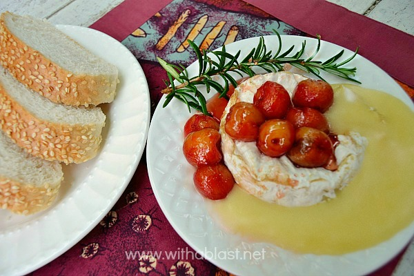 Baked Camembert with Honey Roasted Cherries ~ The ultimate in Appetizers ! Soft, gooey cheese topped with caramelized Honey roasted Cherries
