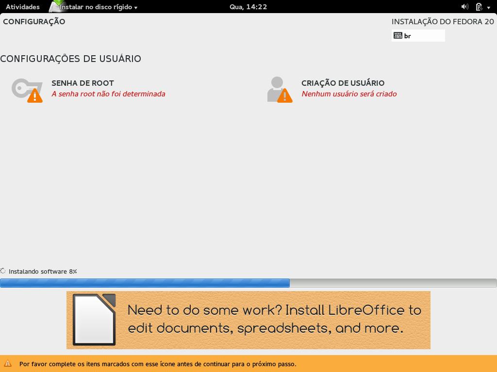Configuração de Usuário - Instalação
