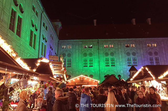 Travel Germany. Christmas Market Munich Residence at night Lights