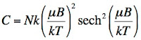 An equation for the heat capacity of spins in a magnetic field B at temperature T.