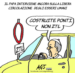 papa francesco, ztl, migranti, libertà, satira, vignetta