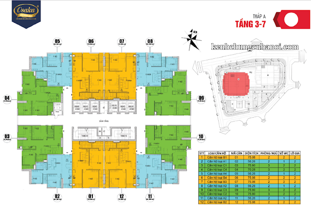 Mặt bằng tầng 3-7 tháp A Osaka Complex