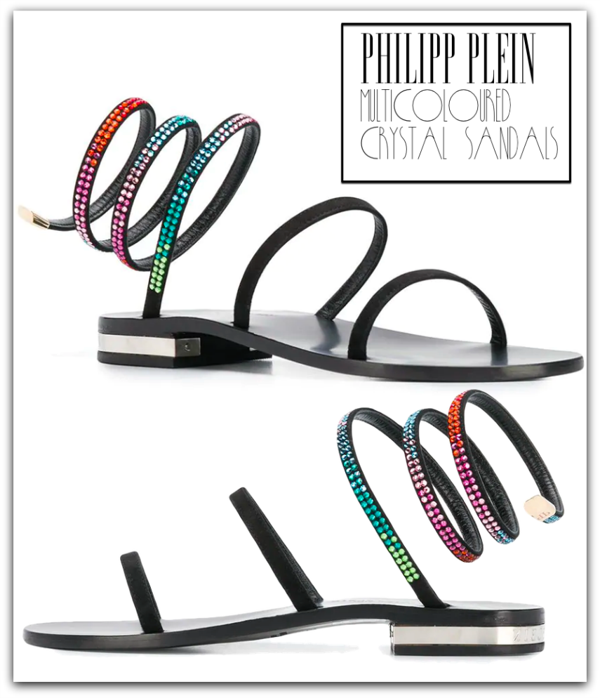 PHILIPP PLEIN Multi-coloured Crystal Sandals