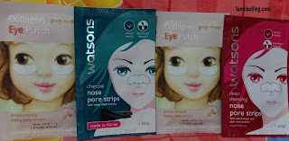 Collagen Eye Patch dari Etude House dan Nose Pore Strip dari Watson