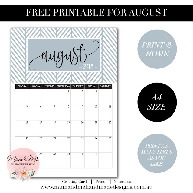 Free A4 Printable - Steel Blue August Monthly Calendar to print from home or the office.