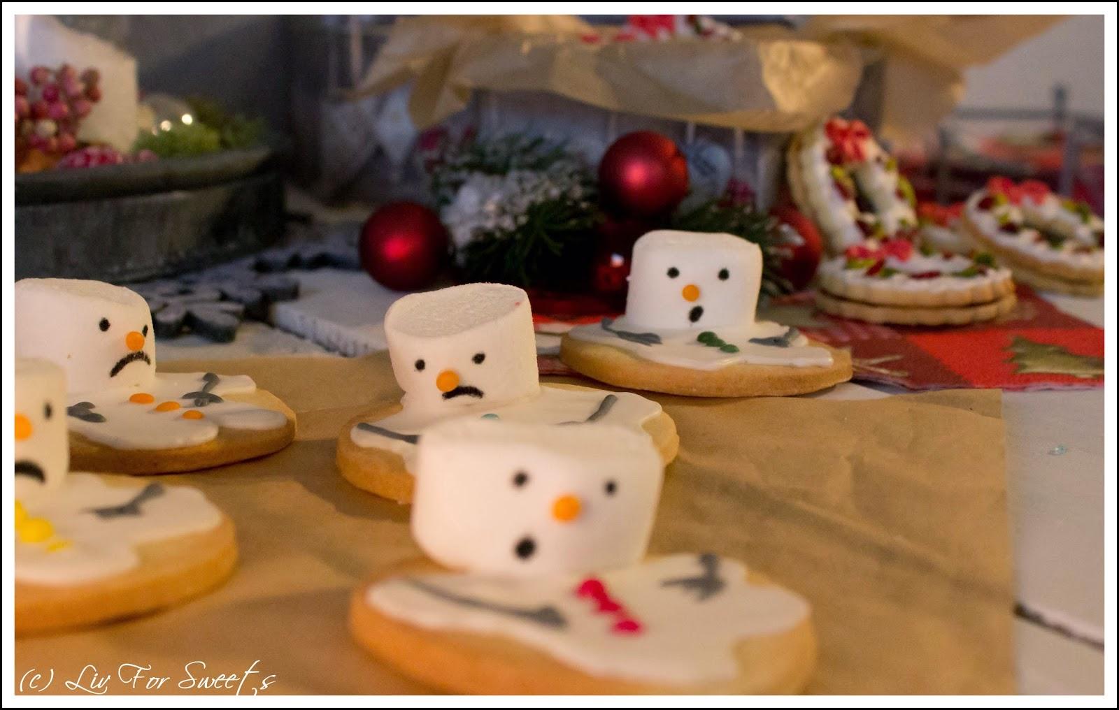 Schneemann-Keksemit Marshmallows, Weihnachtskranz-Kekse mit Pistazien, Cranberrys und Kirschkonfitüre, Mürbeteig, Weihnachten, Plätzchen, Rezept, Thermomix