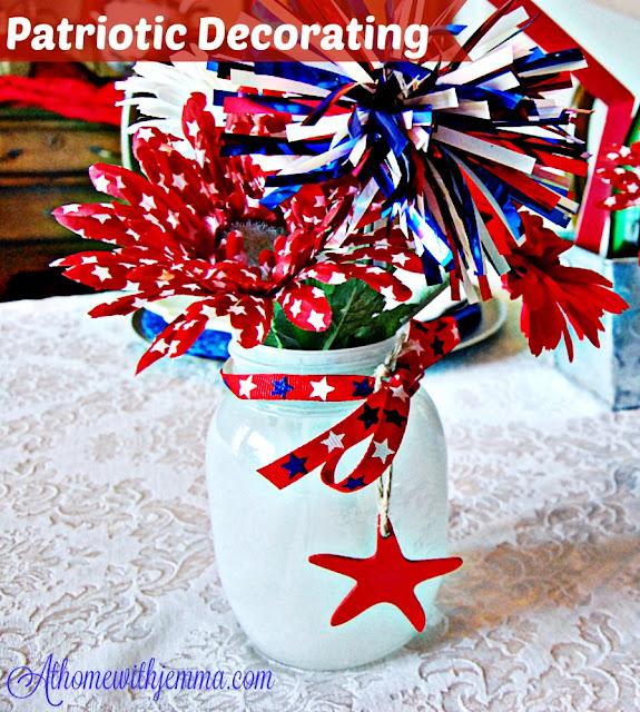 Americana, Patriotic, table setting, mason jars, ribbon, stars, stripes