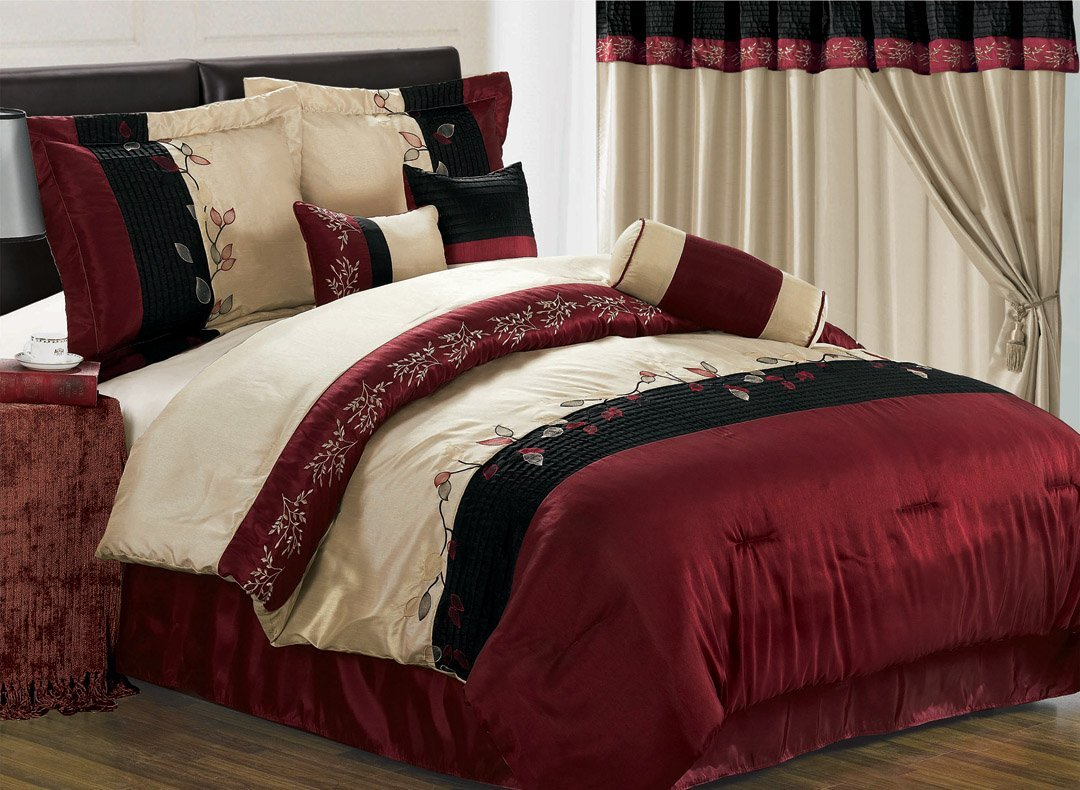 Burgundy Bedding: 7-Pc. Burgundy Embroidered Comforter Set