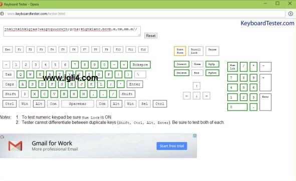 فحص لوحة المفاتيح في اللابتوب