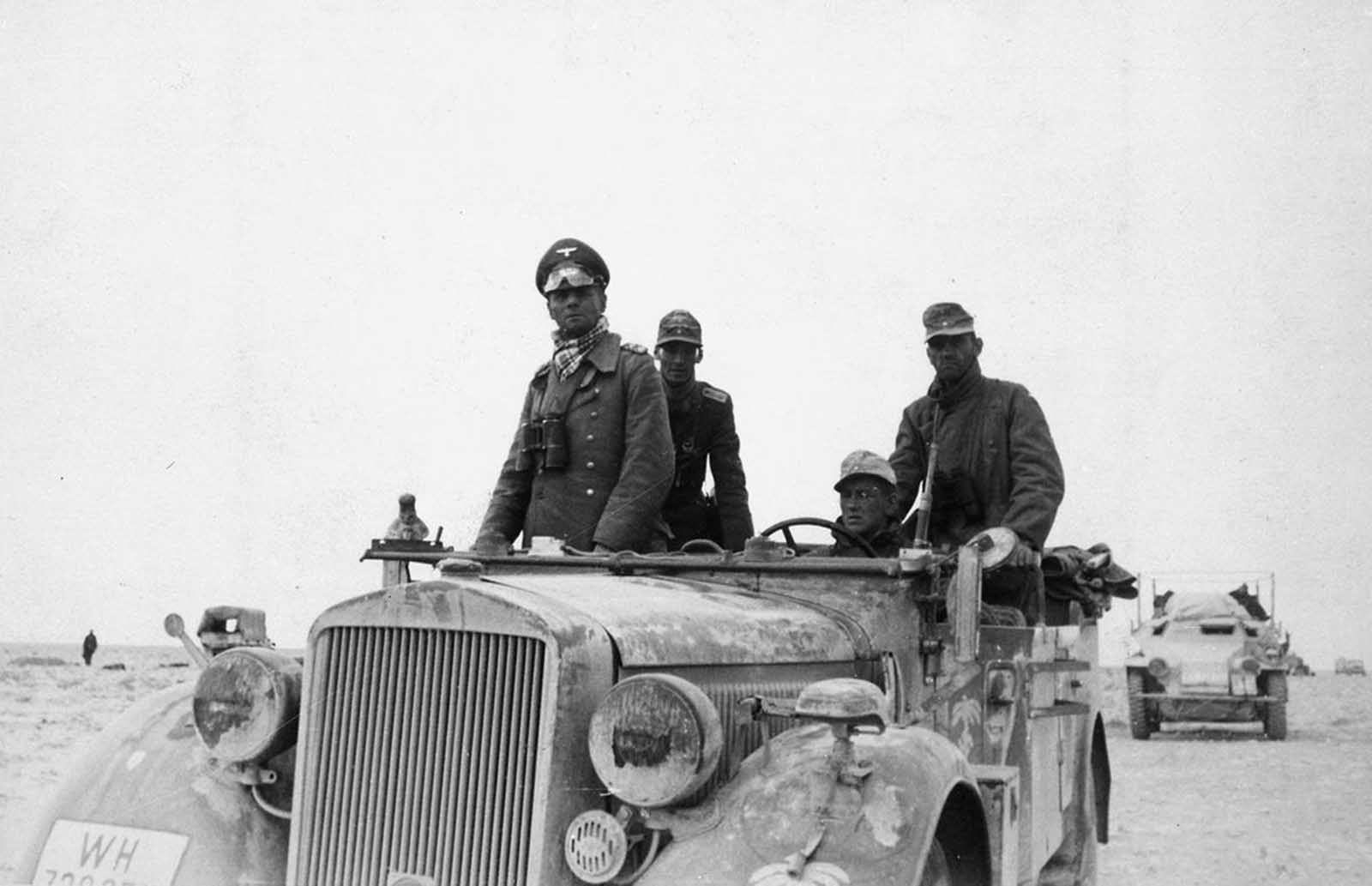 German General Erwin Rommel with the 15th Panzer Division between Tobruk and Sidi Omar. Photo taken in Libya, in 1941.