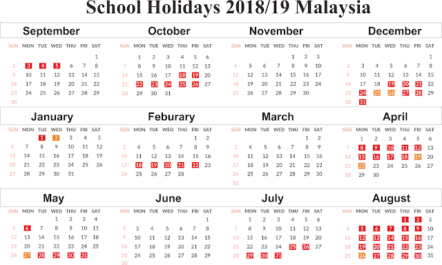Free Template School Holiday 2018-19 Calendar Malaysia