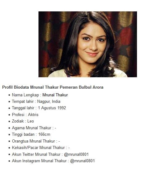 Profil Biodata Mrunal Thakur Pemeran Bulbul Arora