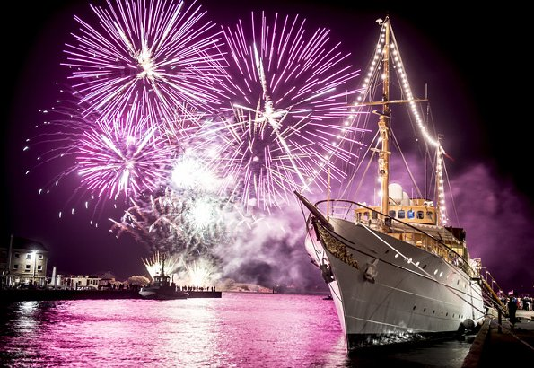Queen held a reception aboard the Royal Yacht Dannebrog, a fireworks show