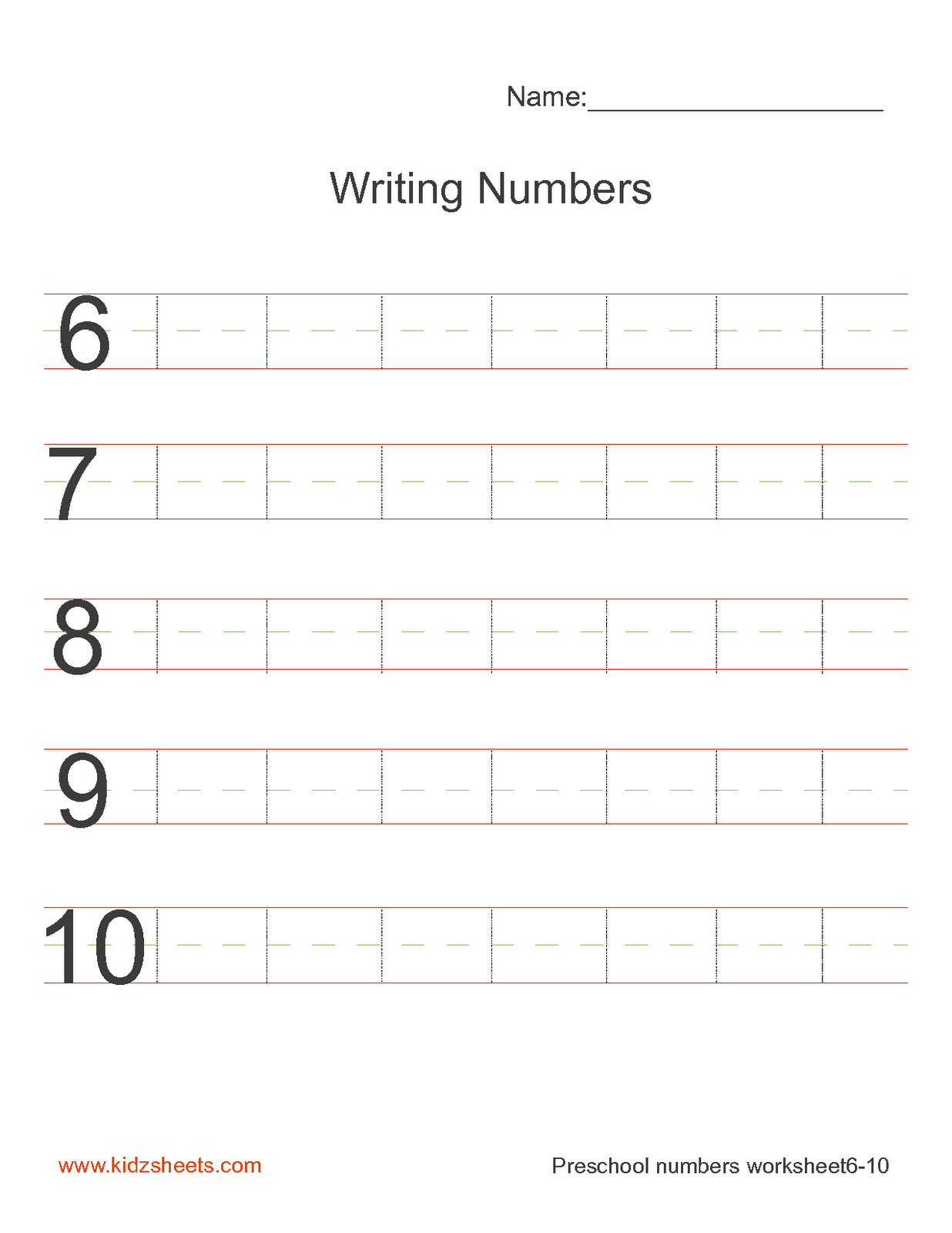 Kidz Worksheets Preschool Writing Numbers Worksheet2