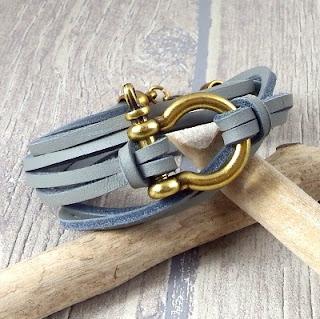 Kit bracelet cuir homme gris clair et manille bronze