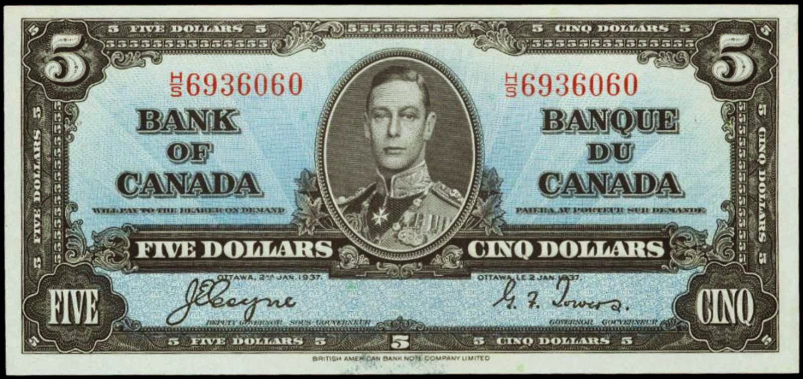 Bank of Canada banknotes 1937 Five Dollar Bill