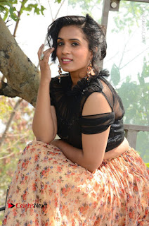Actress Chetana Uttej Stills in Floral Long Skirt at Pichiga Nachav Movie Press Meet  0045.JPG