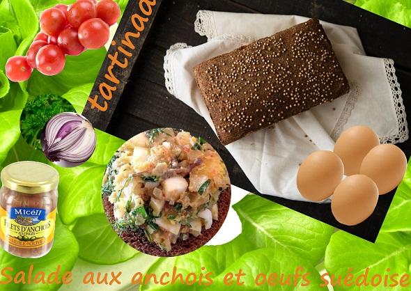 tartinade de salade d'anchois à la crème sûre et fines herbes