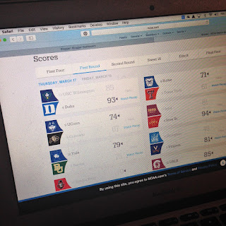 Picture of March Madness Web Site with First Day First Round Scores