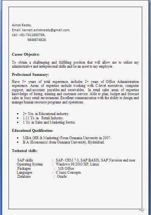 administration executive resume format