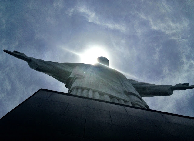 Looking up at Christ the Redeemer, Rio de Janeiro, Brazil