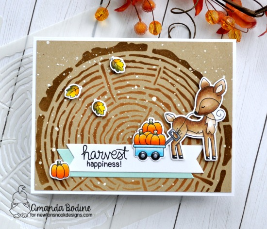 Fall woodland deer card by Amanda Bodine | Harvest Tails Stamp Set and Tree Rings Stencil by Newton's Nook Designs #netwonsnook #handmade