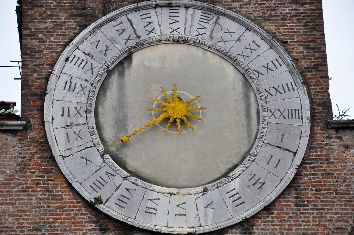 The 24-hour clock of San Giacometto church, Rialto Market, Venice, Italy