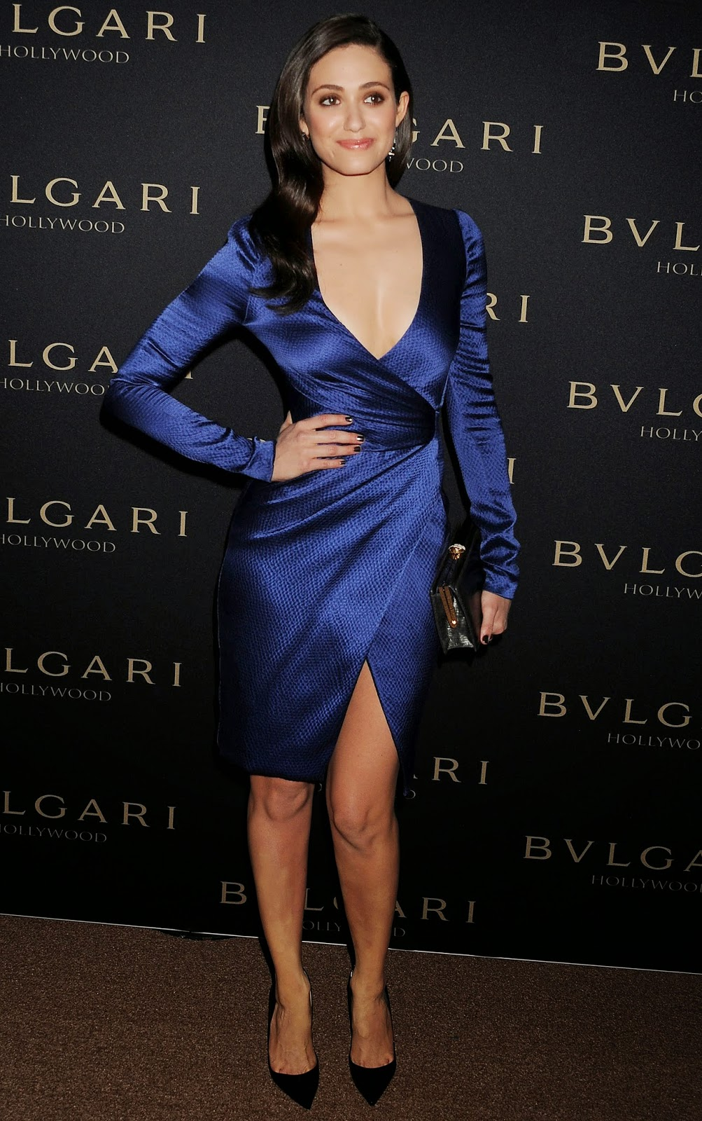 Ladies In Satin Blouses Emmy Rossum Blue Satin Dress