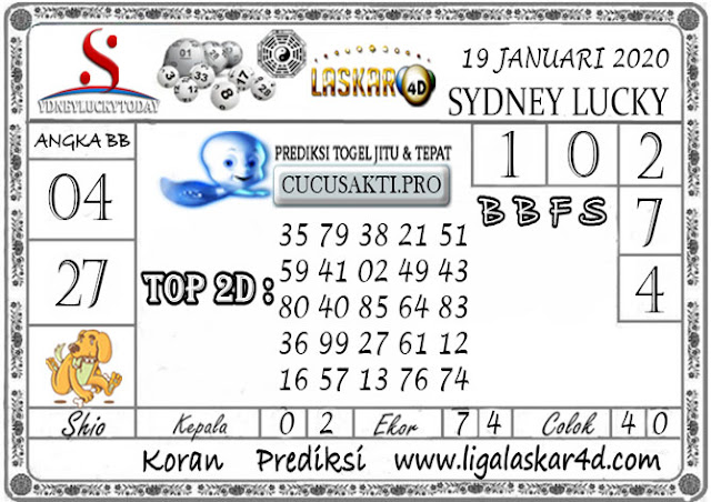 Prediksi Sydney Lucky Today LASKAR4D 19 JANUARI 2020