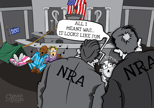Democrats Sit In Gun Control Editorial Cartoon