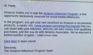 Amazon Influence Program Invitation