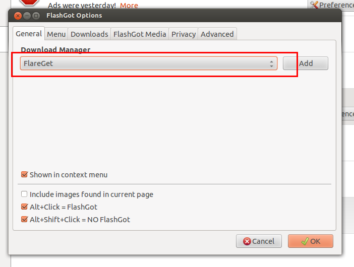 Ubuntu Buzz !: How To Integrate flareGet with Mozilla Firefox