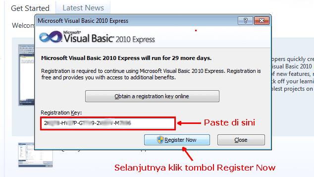 Visual basic c registration key   I can't get the registration key