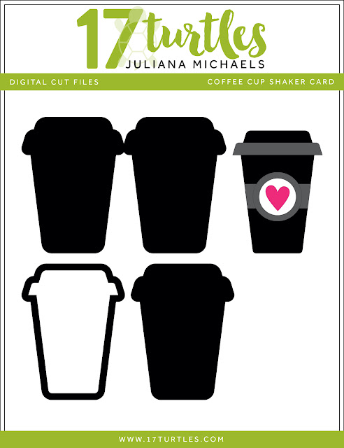Coffee Cup Shaker Box Card Free Digital Cut File by Juliana Michaels