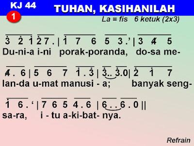 Lirik dan Not Kidung Jemaat 44 Tuhan, Kasihanilah