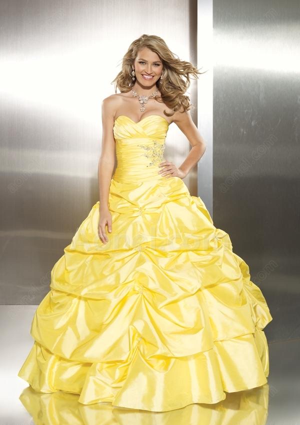 Top robes de mariage,robes de soirée et décoration: Robe de bal jaune BV88