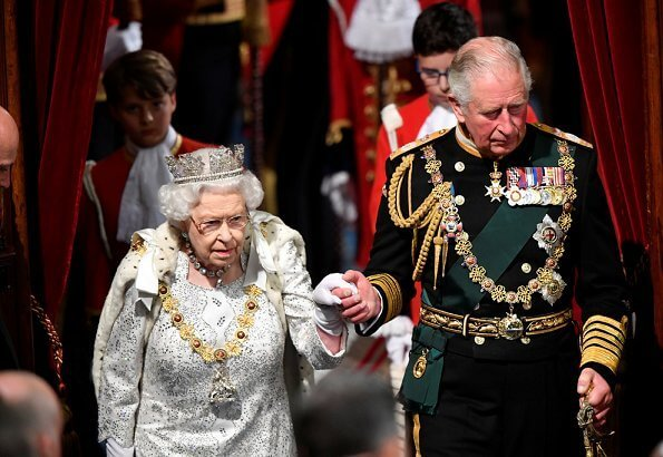 Prince Charles and The Duchess of Cornwall. Prince Ruby, the Stuart Sapphire, St Edward Sapphire and Queen Elizabeth Pearls