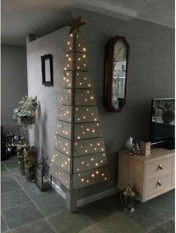 hacer un arbol con luces en las paredes para navidad