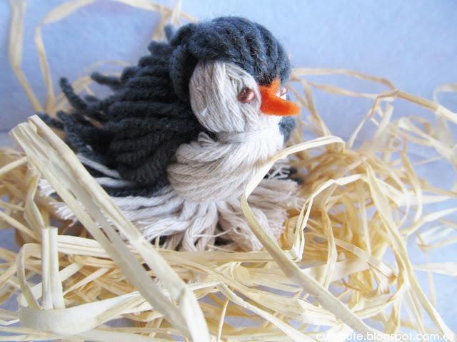 Pájaro con lanas terminado