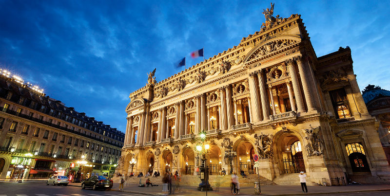 Vista desde la Plaza de la Ópera del Palacio Garnier