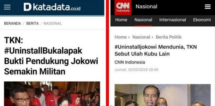 TKN Jokowi Awalnya Bangga Bisa Uninstall Bukalapak, Eh #UninstallJokowi Mendunia Kini Tambah #ShutDownJokowi