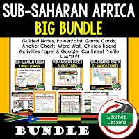 World Geography Sub-Saharan Africa Bundle, Anchor Charts, Games, Guided Notes, Digital Choice Boards, Google Classroom, Word Walls
