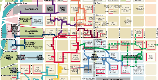 Houston tunnel system map